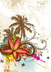 Tropical flower and palm trees