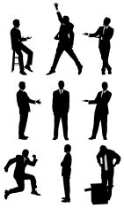 Assorted silhouettes of businessmen