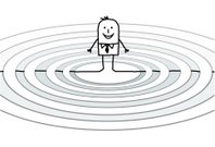businessman & concentric waves