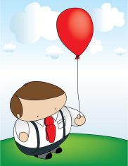 Business man with red balloon.