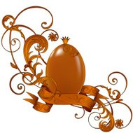 Golden Easter egg with floral ornament and banner