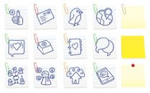 Social networking post it note icons