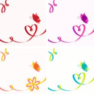 Butterfly and heart ribbon design