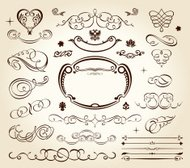 calligraphic elements vintage set. Vector frame ornament