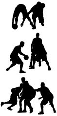 Streetball basketball players in action