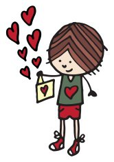 Boy with card and love hearts