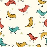 Retro Seamless Scribbled Birds Pattern