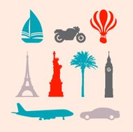 Travel Stencil Stamp Icons