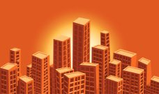 detailed vector city - sunset