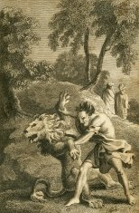 Samson and the lion (c1830 engraving)