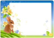Spring Easter background with flowering branch, bunny and eggs