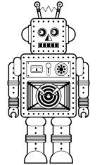 Retro Robot Character Icon in Black and White