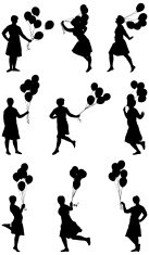 Woman running and playing with balloons