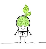 businessman with green brain & leaf