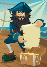 Cartoon pirate with treasure chest