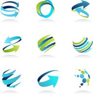 Blue abstract design elements and icons