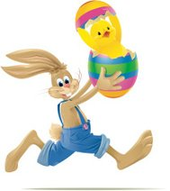 Running Easter Bunny with Happy Baby Chick in Egg