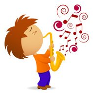 Cartoon saxophonist with abstract music note