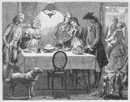 19th century illustration of people saying grace at meal