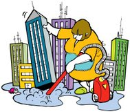 Editable Cartoon illustration of a lady vacuuming the city lands