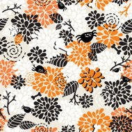 Seamless pattern with spiders and flora.