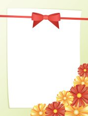 greeting card with bow and red flowers, vertical, vector
