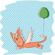Cat With a Green Balloon