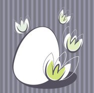 Easter design with egg and flower elements