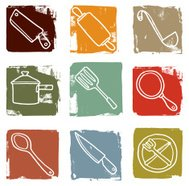 Cooking utensil grunge block icons