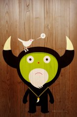 Bird song on horned character wood panels