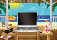 Computing in holiday beach hut by the sea