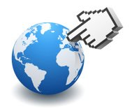 Cursor Hand Pointing To Globe