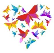 Origami heart composition