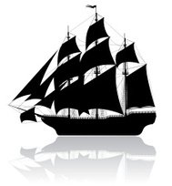 Black old ship isolated on white.