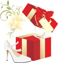 Elegant white shoes in a gift