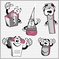 Set of funny cartoon school objects - vector