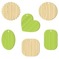Tag with a wooden texture. Vector illustration.