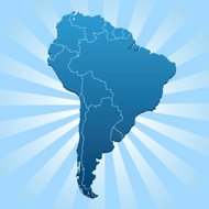 South America map on blue rays