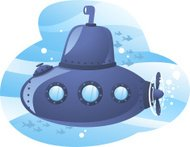 Cartoon submarine with blue water and fish background