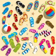 Colorful slippers on the beach