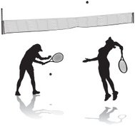 Female Tennis Players Serving and Net