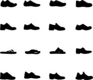 Vector illustrations of various shoe silhouettes
