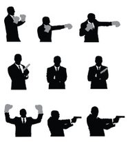 Vector images of businessmen boxing and with pistols