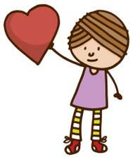 Little girl holding up a large red heart