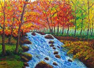 Oil Painting - Maple and Stream