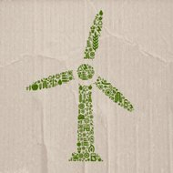 Wind power made of ecology icons