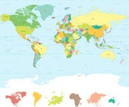 Traditional colors High Quality Vector World Map