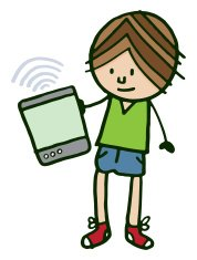 Boy holding blank computer tablet