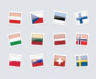 Postage Stamp Flags: Central Europe, Scandinavia, Baltic States