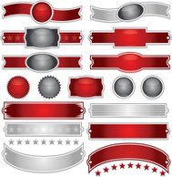 Shiny Red, Silver Ribbons, Stickers, Buttons, and Stars Set